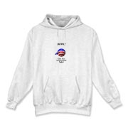 This groovy stars and stripes bowling hooded sweatshirt shows a smiling bowling ball caricature decked out in red, white and blue. The caption says: BOWL! (It's Your Constitutional Right).