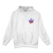 This bowling hooded sweatshirt with red white and blue pocket emblem design shows bright colored bowling pins and a colorful bowling ball, all wrapped in stars and stripes.