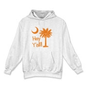 Say hello with the Orange Hey Y'all Palmetto Moon Hooded Sweatshirt. It features the South Carolina palmetto moon.
