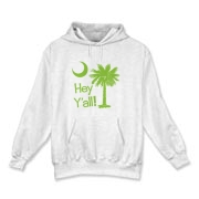 Say hello with the Lime Green Hey Y'all Palmetto Moon Hooded Sweatshirt. It features the South Carolina palmetto moon.