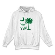 Say hello with the Green Hey Y'all Palmetto Moon Hooded Sweatshirt. It features the South Carolina palmetto moon.
