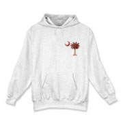 The basketball palmetto moon features the South Carolina palmetto with a basketball and hardwood floor theme positioned in the pocket area of a Hooded Sweatshirt.