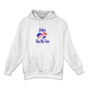 Wear a t-shit, tank top, hoodie or sweart shirt and let the World know John Has Your Vote.