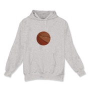 A basketball is the feature of this Adult Hooded Sweatshirt.