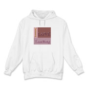 I love teaching in shades of pink and gold appear on this hooded sweatshirt. It is available in white (shown), ash gray or sport gray.