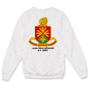 158th Artillery, MLRS - Light Color Crewneck Sweatshirts: Front & Back Insignia, Available in 3 Light Colors.