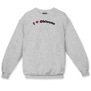 Call it I love Ohioans or I heart Ohioans, this is how you can show your love for Ohioans. Exclusive design featuring cool curved text with a strong red heart.