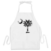 Black Polka Dot Palmetto Moon BBQ Apron features a black palmetto moon with white polka dots. Buy this fun variation on the South Carolina palmetto moon flag today!