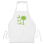 Say hello with the Lime Green Hey Y'all Palmetto Moon BBQ Apron. It features the South Carolina palmetto moon.