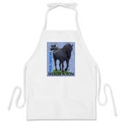 Top quality item with the real horses weigh a ton slogan featuring a black Percheron draft horse.