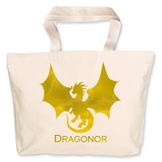 This tote bag sports a Trefoil Academy logo on one side, and the Dragonor logo on the other.