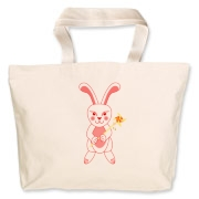 Celebrate Chinese New Year with this cute year of the metal rabbit tote bag! This rabbit is happily carrying a red and gold pinwheel with bells! Also a great gift for someone who just loves rabbits! Red version. Image on both sides.