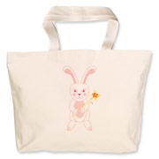 Celebrate Chinese New Year with this cute year of the metal rabbit tote bag! This rabbit is happily carrying a red and gold pinwheel with bells! Also a great gift for someone who just loves rabbits!  Pink version. Image on both sides.