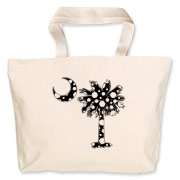 Black Polka Dot Palmetto Moon Jumbo Tote Bag features a black palmetto moon with white polka dots. Buy this fun variation on the South Carolina palmetto moon flag today!