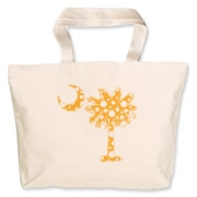 Yellow Polka Dot Palmetto Moon Jumbo Tote Bag features a yellow palmetto moon with white polka dots. Buy this fun variation on the South Carolina palmetto moon flag today!