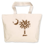 Chocolate Brown Polka Dot Palmetto Moon Jumbo Tote Bag features a chocolate brown palmetto moon with white polka dots. Buy this fun variation on the South Carolina palmetto moon flag today!