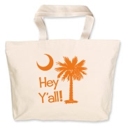 Say hello with the Orange Hey Y'all Palmetto Moon Jumbo Tote Bag. It features the South Carolina palmetto moon.