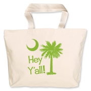 Say hello with the Lime Green Hey Y'all Palmetto Moon Jumbo Tote Bag. It features the South Carolina palmetto moon.