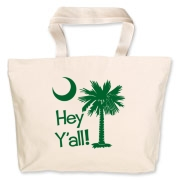 Say hello with the Green Hey Y'all Palmetto Moon Jumbo Tote Bag. It features the South Carolina palmetto moon.