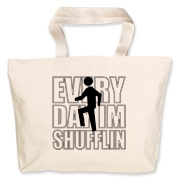 Every Day Im Shufflin design features the familiar icons from the smash hit video by LMFAO Party Rock Anthem. Very hot shirt for clubbing or a night out on the town.