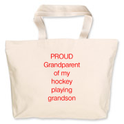 Proud of hockey grandson Jumbo Tote Bag