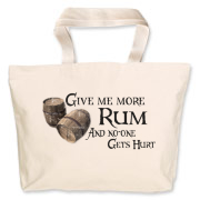 Give me more rum, and no-one gets hurt! Two old wood barrels and fancy text on this funny pirates design - great for shopping, books, knitting utensils - or to carry your booty home!