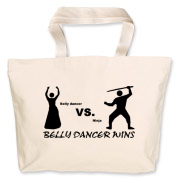 belly dancer vs. ninja Jumbo Tote Bag