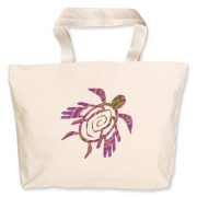 Winged Turtle - Purple Jumbo Tote Bag