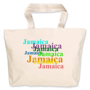 The Jamaica tote is colorful and handy to use for carrying books, groceries, important papers and so many other things! The design appears on both front and back of the tote bag.