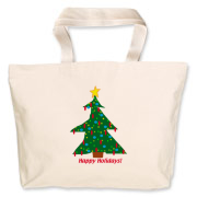 Holiday Tote Bag with Happy Holidays and a decorated tree can be used to carry small packages, food to a family meal or given as a hostess gift!