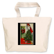 Perfect for holiday shopping, this tote has the image from a vintage postcard on both front and back. Fill it with greenery and set it beside your fireplace and it makes a wonderful decoration for the holidays!