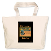 This is a great Christmas tote bag in non-traditional colors! It will hold all of your presents or fill it will greenery and place it by the fireplace!