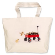 Chick jumping from wagon Jumbo Tote Bag