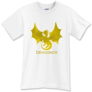 Dragonor Logo on the front; Trefoil Academy emblem on the back. Text on back designed for lighter shirt colors.