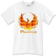Phoenixter Logo on the front; Trefoil Academy emblem on the back. Text designed for light shirt colors.