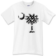 Black Polka Dot Palmetto Moon T-Shirt features a black palmetto moon with white polka dots. Buy this fun variation on the South Carolina palmetto moon flag today!