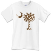 Chocolate Brown Polka Dot Palmetto Moon T-Shirt features a chocolate brown palmetto moon with white polka dots. Buy this fun variation on the South Carolina palmetto moon flag today!