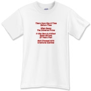 This amusing cosmology limerick t-shirt gives in rhyme a quick recount of the evolution of the universe, from the Big Bang beginning to the creation of mankind.