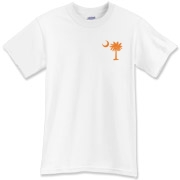 Orange and Purple South Cackalacky Palmetto Moon T-Shirt features the South Carolina palmetto moon logo in orange and purple on the back and a smaller, matching palmetto moon on the front.
