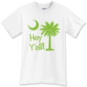 Say hello with the Lime Green Hey Y'all Palmetto Moon T-Shirt. It features the South Carolina palmetto moon.