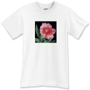 A luscious dianthus with leaves and bud creates an especially lovely t-shirt. Wear this one when you want to spread cheer wherever you go.
