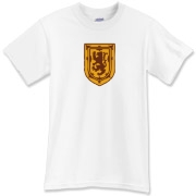 A stylized crest Lion Rampart Scottish t-shirt.  This tee is most fitting for any dapper Scotsman, Nova Scotian, or anyone with that fine Scottish blood in their veins.  Scotland Forever says all of us at Murchada Outfitters!
