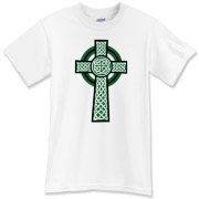 A detailed kelly green and white Celtic Cross t-shirt featuring Celtic knotwork.  You won't be mistaken for any but a Celt with this most Celtic of Celtic tees!  A great Murchada Outfitters shirt and that's no blarney!