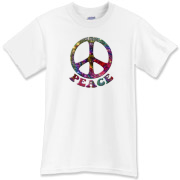 A glittering, shimmering peace symbol and the word Peace. Show your pro-peace passions with this jewel of a design.
