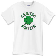 This very Irish t-shirt features a Celtic four-leaf clover with 'Celtic Pride' in knotwork.  This Celtic tee is as lucky as a pot o' shamrocks!  Wear this Murchada Outfitters apparel on St. Patrick's Day or 365 a year!