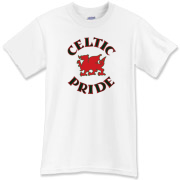 This is a Welsh dragon t-shirt emblazoned with the words 'Celtic Pride' in knotwork.  Perfect for those craving cool Wales apparel or great for...uh, dragon lovers.  Be proud to support the Celtic nations...Murchada Outfitters!