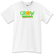 Grow Green with an orange-yellow daisy-like flower in place of the o in grow. The word green is two-colored green and brown. A gardening, eco design.