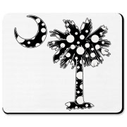 Black Polka Dot Palmetto Moon Mousepad features a black palmetto moon with white polka dots. Buy this fun variation on the South Carolina palmetto moon flag today!