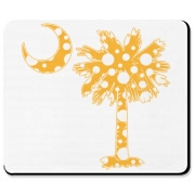 Yellow Polka Dot Palmetto Moon Mousepad features a yellow palmetto moon with white polka dots. Buy this fun variation on the South Carolina palmetto moon flag today!