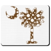 Chocolate Brown Polka Dot Palmetto Moon Mousepad features a chocolate brown palmetto moon with white polka dots. Buy this fun variation on the South Carolina palmetto moon flag today!